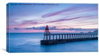 Winter Sunrise Over Whitby Pier, Canvas Print