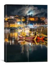 Moonrise Over Whitby Harbour, Canvas Print