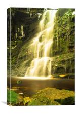 Middle Black Clough Waterfall., Canvas Print