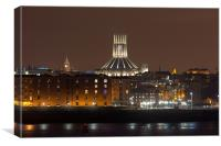 Liverpool night cityscape, Canvas Print