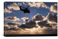 helicopter in sunbeams, Canvas Print