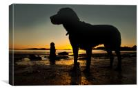 Dogs on the beach, Canvas Print