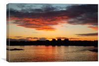 Trearddur bay Sunrise with the sun rising over Sno, Canvas Print