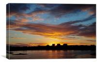 Trearddur bay Sunrise with the sun rising over Sno, Canvas Print