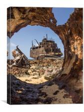 Klien Curacao - ship wreck, Canvas Print