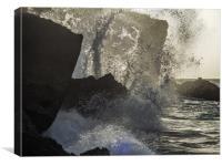 Crashing waves    Curacao views , Canvas Print