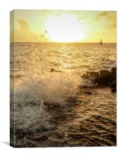 Sunset at the ocean in Punda Curacao views , Canvas Print