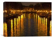 Amsterdam Canal Oil Painting Effect, Canvas Print
