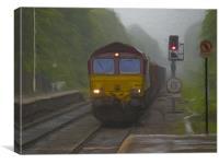 Goods Train at Hebden Bridge, Canvas Print