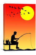 Childhood dreams, Fishing, Canvas Print