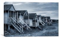 Old Hunstanton Beach Huts Cyanotype, Canvas Print