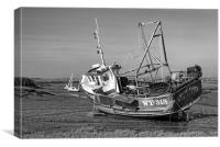 Monochrome of Whitby Crest at Brancaster Staithe, Canvas Print