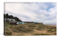 Beach Huts in the Marram Grass, Canvas Print