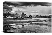 Langstone Mill Autumn Storm BW, Canvas Print