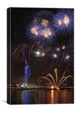 Spinnaker Tower fireworks, Canvas Print