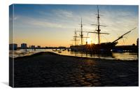 HMS Warrior Sunset, Canvas Print