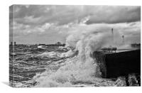 Waves crashing over sea wall, Canvas Print