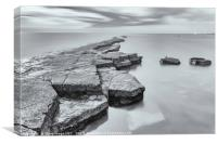 Kimmeridge Ledges by Moonlight, Canvas Print
