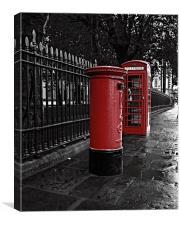 London Phone Box And Royal Mail Postal Box, Canvas Print