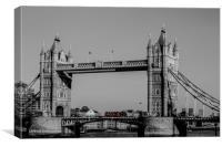 Red Bus crossing Tower Bridge , Canvas Print