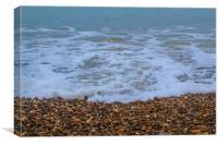 Wave Crashing Over Beach Pebbles, Canvas Print