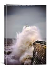 Tynemouth pier during a storm, Canvas Print
