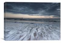Grey morning on Spittal beach, Canvas Print