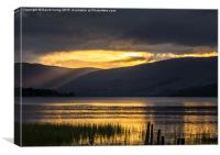 Crepuscular rays over Loch Tay, Canvas Print
