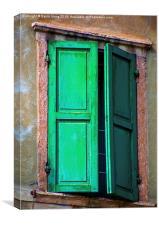 Green shutters , Canvas Print