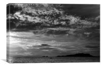 Monochrome sunset over Fidra, Canvas Print