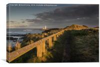 Sunset St Marys Lighthouse, Canvas Print