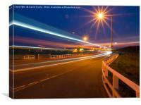 Light trails over Seaton Sluice bridge, Canvas Print