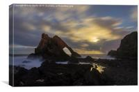Bow Fiddle Rock by moonlight, Canvas Print