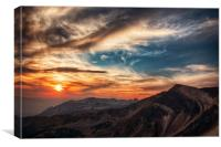 Sunset over the Rockies., Canvas Print