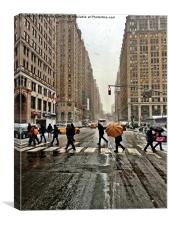 New York 8th Avenue on a winters day, Canvas Print
