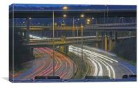 Motorway Junction of M23 and M25 at dusk, Canvas Print