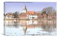 Bosham village and Holy Trinity Church, Canvas Print
