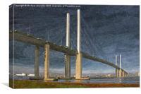 QE2 Dartford Bridge oil painting, Canvas Print