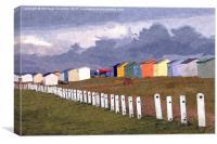 Littlestone Beach Huts painting, Canvas Print