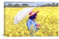 Girl in yellow with parasol, Canvas Print