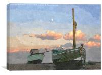 Boats on the beach at Dungeness, Canvas Print