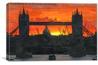 Tower Bridge sunset, Canvas Print
