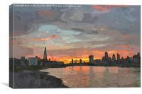 London skyline sunset. Digital water colour., Canvas Print