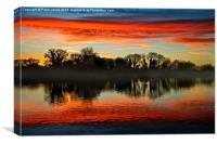 Reservoir Winter sunset, Canvas Print