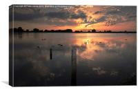 Sunset over Startops End Reservoir , Canvas Print