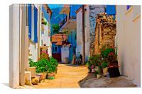 Digital painting of a Turkish village street scene, Canvas Print