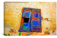 Digital painting of colorful broken wooden window , Canvas Print