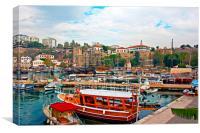 Digital painting of Kaleici, Antalya's old town ha, Canvas Print