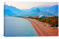 Digital painting of the Turkish coastline resort o, Canvas Print