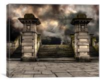 Spooky old sandstone graveyard entrance, Canvas Print
